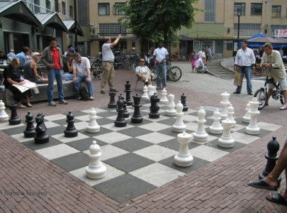 Huge outdoor chess set